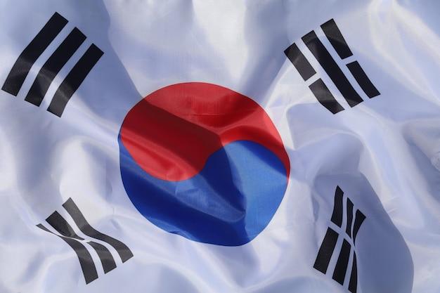 韓国国旗のクローズアップ