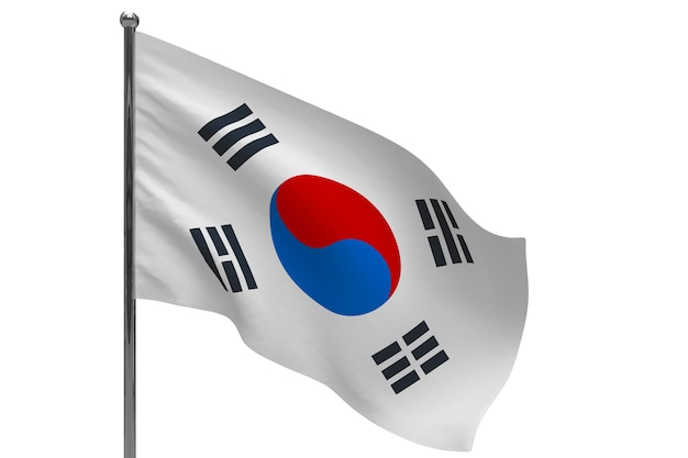 극에 한국 플래그입니다. 금속 깃대. 흰색에 한국 3d 그림의 국기