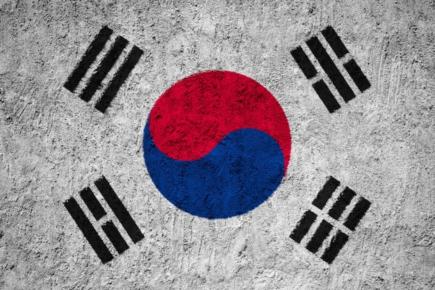 South korea flag painted on grunge wall