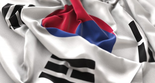 South korea flag ruffled beautifully waving macro close-up shot