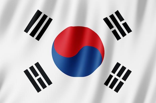 風に揺れる韓国の旗。