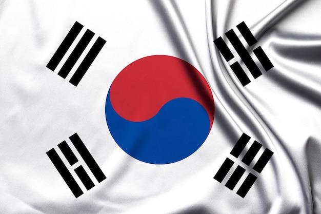 生地の質感の韓国国旗。 3dイラスト
