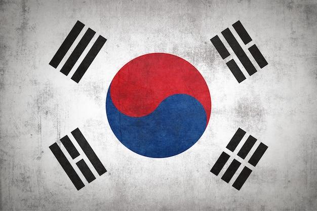 グランジテクスチャと韓国の旗。