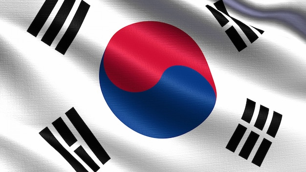 South korea flag, with waving fabric texture