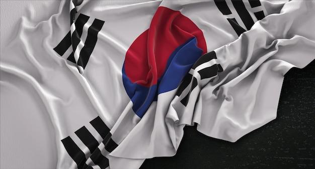 한국 국기는 어두운 배경 3d 렌더링에 주름
