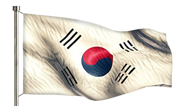 South korea national flag isolated 3d white background