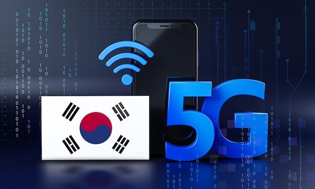 대한민국은 5g 연결 개념을 준비합니다. 3d 렌더링 스마트 폰 기술 배경