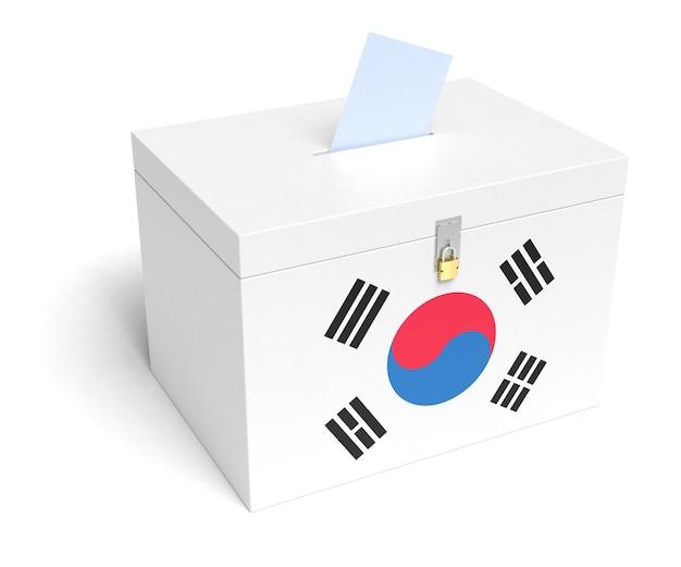 韓国国旗投票箱。孤立した白い背景。 3dレンダリング。