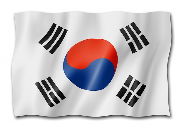 South korean flag isolated on white