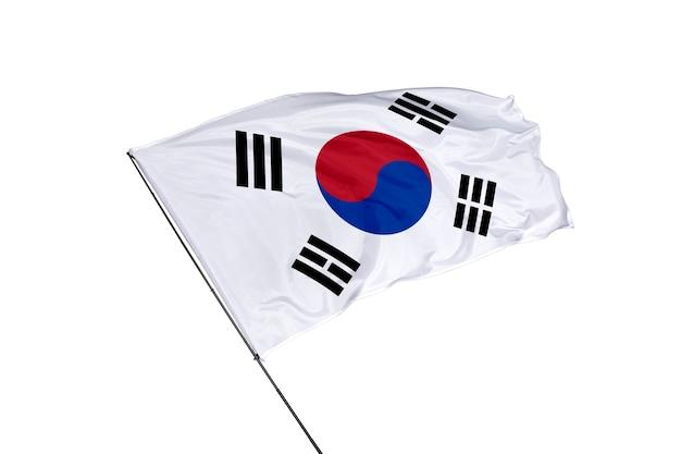 白い背景の上の韓国の旗