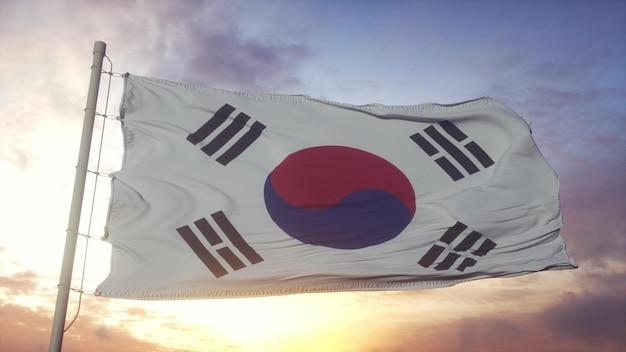 바람에 펄럭이는 대한민국 국기. 대한민국의 국기. 3d 렌더링