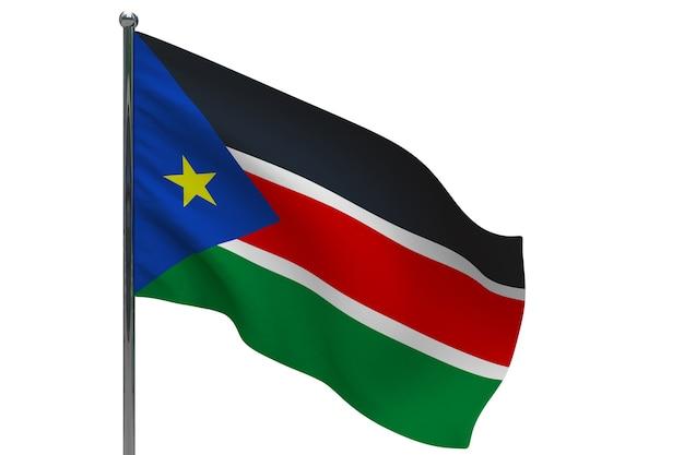 Флаг южного судана на шесте. металлический флагшток. национальный флаг южного судана 3d иллюстрации на белом