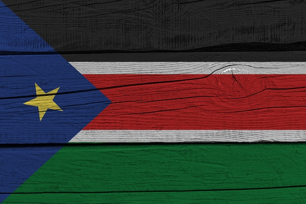 South sudan flag painted on old wood plank