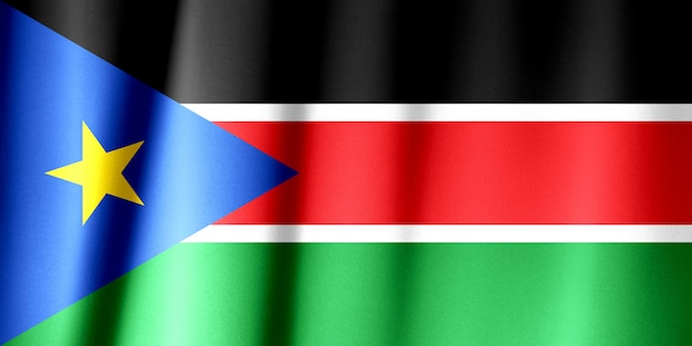 South sudan flag pattern on the fabric texture