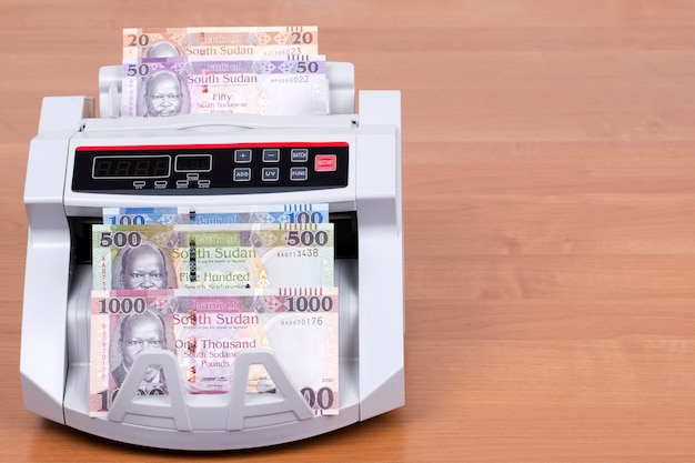 South sudanese money in a counting machine