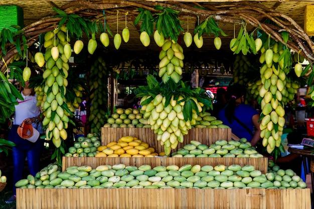 동남아시아 필리핀 기마라스 섬 5월 망고 축제는 신선한 망고 과일과 함께 ...