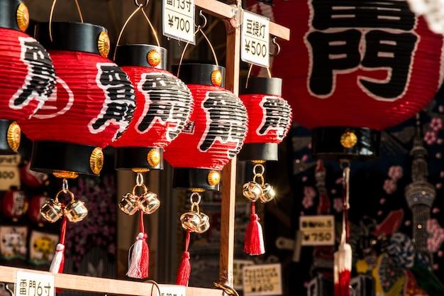 Souvenir at asakusa market in front of temple, tokyo, japan.