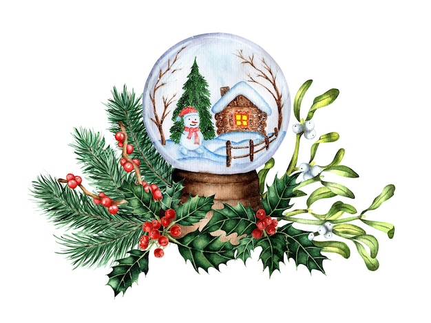 A souvenir ball with snow decorated with fir branches illustration