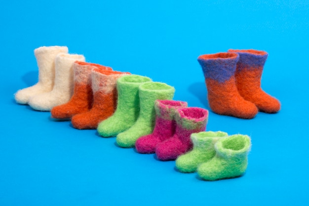 Souvenir boots made of felted wool