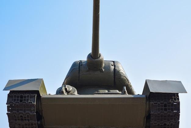 Soviet military tank against the blue sky