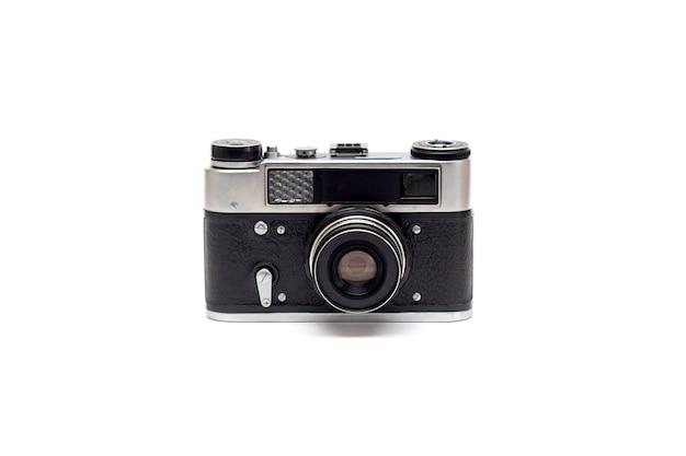 レンズ付きのボディに革の要素を備えたソビエトの古いカメラ。分離する