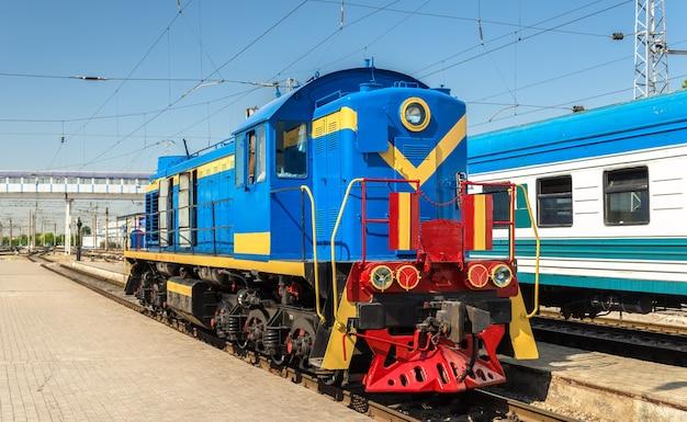 Soviet shunter diesel locomotive at tashkent station in uzbekistan