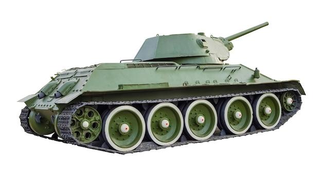 Советский танк времен второй мировой войны на белом фоне. военная техника. изолированный объект
