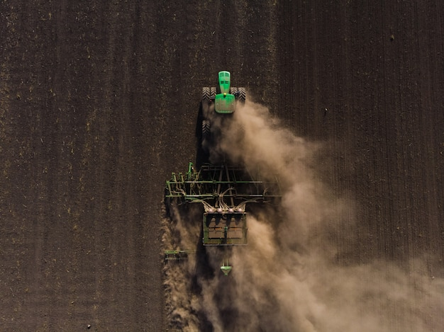 Sowing of winter wheat tractor from the air