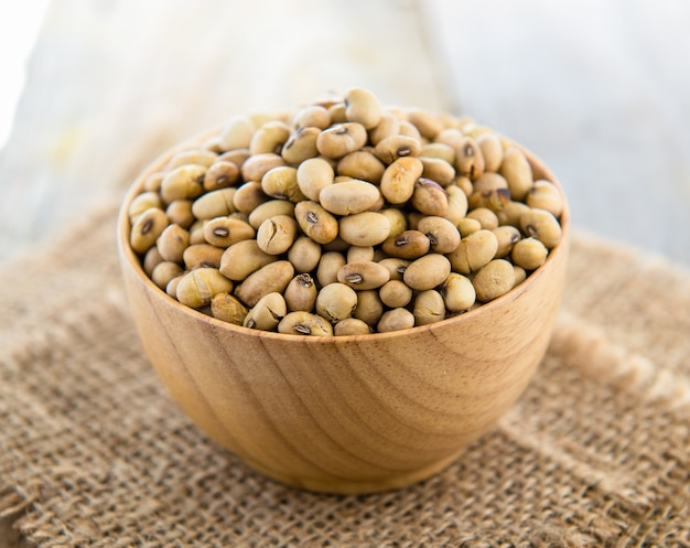 Soy beans in wood bowl