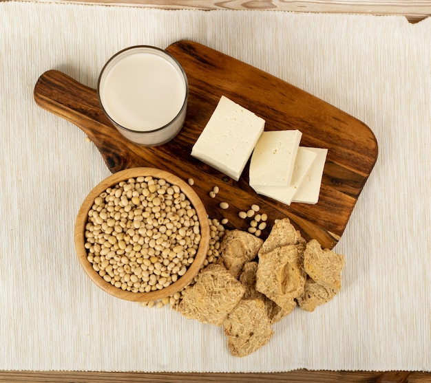 Soy foods collection with soy products mix, soya milk, bean curd, soy protein or tsp