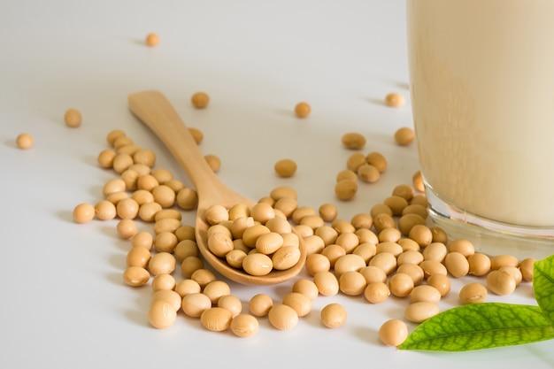 두유와 콩 흰색 테이블 배경, 건강 개념에 그것을 콩. 간장의 장점.