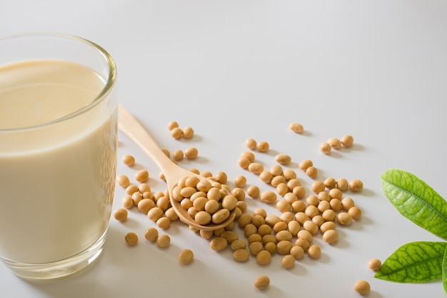 Soy milk and soy bean it on white table background, healthy concept. benefits of soy.