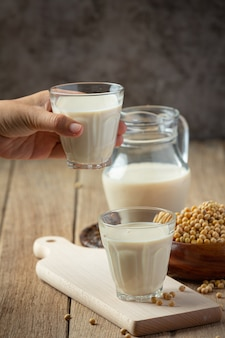 Soy milk, soy food and beverage products food nutrition concept.