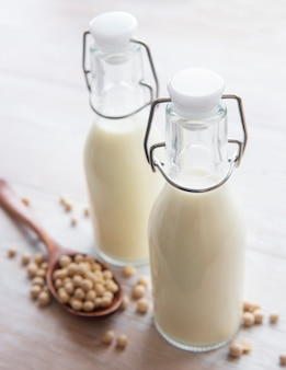 Soy milk and soy on the table  healthy plant product