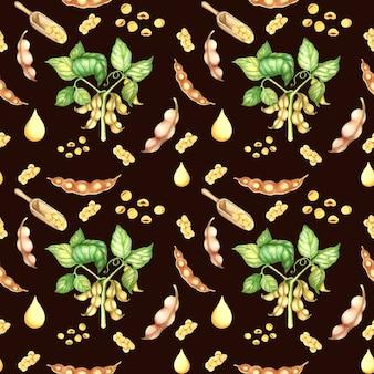 大豆植物と豆のシームレスなパターン