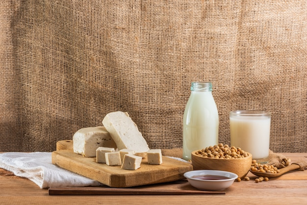 Soy products on wooden table