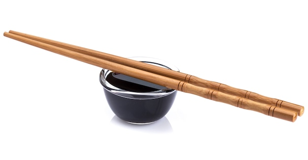 Soy sauce and bamboo chopsticks