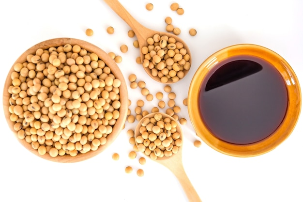 Soy sauce, soya and soybean isolated on a white background