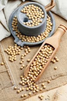 大豆の木のスクープと小さな石工場