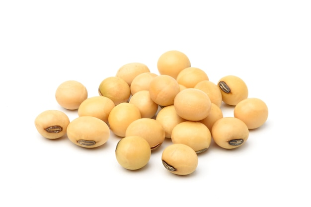 Soybeans isolated on white