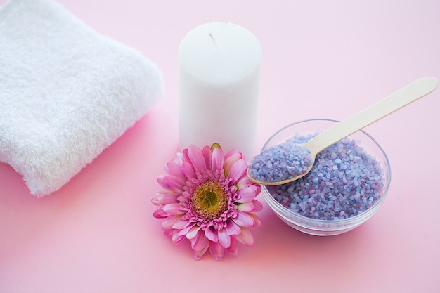Spa accessories. bath salt beauty treatment