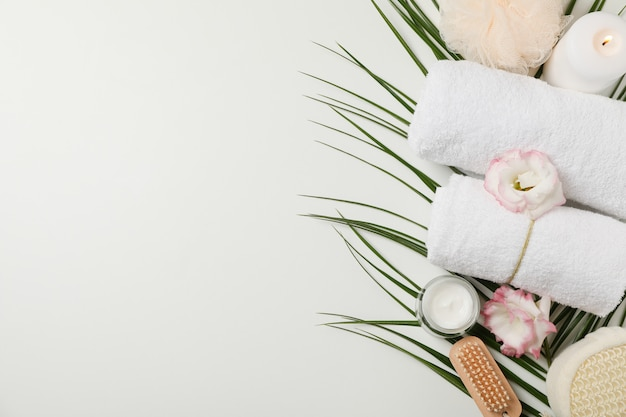 Spa accessories and palm branch on white background, copy space. bodycare