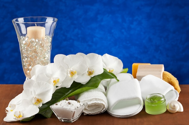 Spa accessories on wooden table