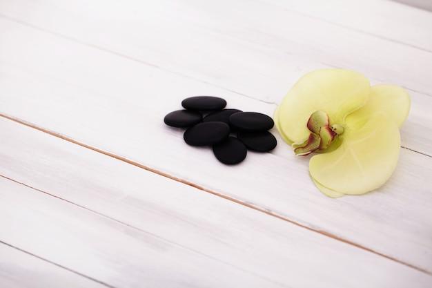 フランジパニーの花と小石のあるスパとマッサージの設定