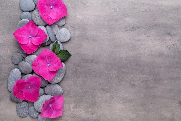 スパアロマテラピーの背景、シンプルな蘭の花で飾られたさまざまな美容製品のフラットレイ。