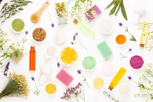 Spa aromatherapy floral background, flat lay