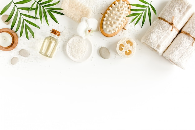 Spa background. natural spa cosmetics products, eco friendly bathroom accessories. flat lay, top view