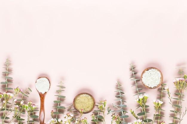 Фон спа с пространством для текста. поздравительная открытка спа wellnes. тема ароматерапии, косметика ручной работы