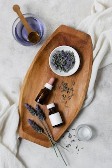 Spa and beauty lavender treatment flat lay