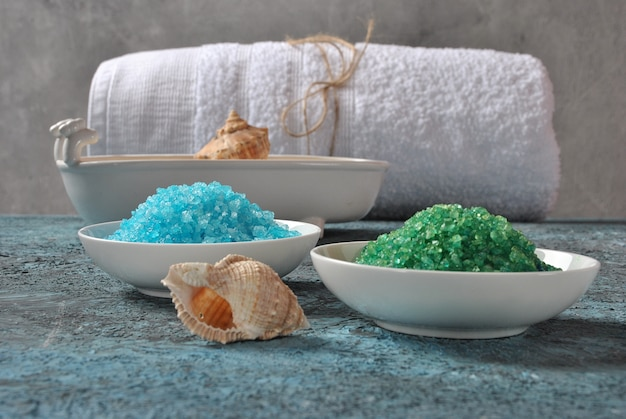 Spa and body care products. colorful aromatic bath dead sea salt